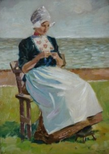 Image of Painting of Dutch Girl Knitting by the Sea